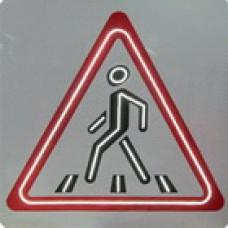 Светодиодный активный импульсный дорожный знак 1.22 Пешеходный переход треугольник 900мм на квадрате 900x900мм